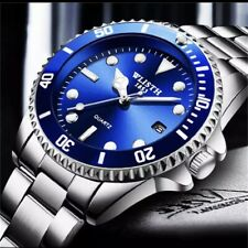 WLITH Luxury Stainless Steel Mens Watch Blue Auto Japanese Movement Waterproof