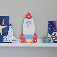 Light up Wooden Rocket Space Ship Kids LED Warm White Night Fairy Lights Bedroom