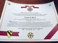 Military Commemorative ~ LEGION OF MERIT Commemorative Certificate