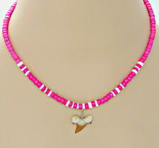 Pink Necklace Surfer Girls Fossil Sharks Tooth SUP Tribal Puka Shell Coconut