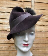 Original Vintage 1940s Small Brimmed Fedora Brown Velour Felt Alpine Topper Hat