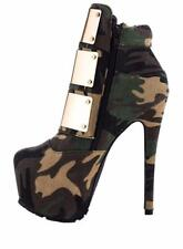 Sexy Womens Camo Round Toe Rivet Buckle Ankle Boots High Stiletto Platform Shoes