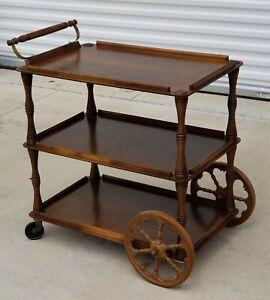 Antique Wood Serving Tea Bar Cart, Original 3-Tier Rolling Server/ Tea Wagon