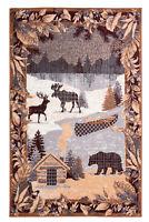 "Cabin Wildlife - 7'8""x11', Multicolor, Lodge Mountain, Deer, Bear Area Rug - 525"