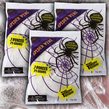 More details for 3x white halloween party cobweb decorations stretchy uv disco dj spider webs