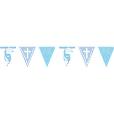 Amscan - Communion Church Blue Holographic Foil Pennant Banner 4m