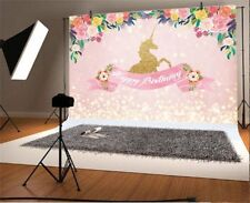 Unicorn Pink Flower Birthday Photography Backdrop Photo Background Vinyl 7x5Ft
