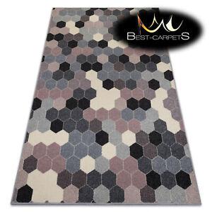 MODERN amazing RUGS 'HEOS' Hexagon Honeycomb grey pink CARPETS ORIGINAL pattern