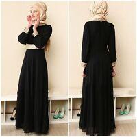 Muslim Women Kaftan Islamic Maxi Dress Long Sleeve Arab Jilbab Abaya Clothing