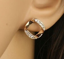 Unique 18KGP Rose Gold Crystal Hollow Alloy Stud Earring (All-the-way tracking)
