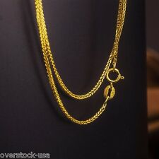 15.7INCH Solid 18K Yellow Gold Necklace Foxtail Link Chain Necklace