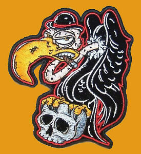 BUZZARD BIRD SKULL PATCH  EMBROIDERED IRON ON 10 X 8 INCH MC PATCH
