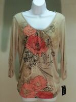 NWT $34 STYLE&CO WOMEN'S BEIGE FLORAL 3/4 SLEEVE TOP BLOUSE SIZE: PS