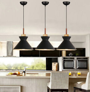Black Pendant Lighting Kitchen Lamp Bar Ceiling Light Wood Modern Pendant Light