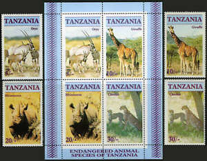 Tanzanie 319-322,322a,Mi 328-331 Bl.58,Mnh.cheetah,Girafe,Rhinocéros,Oryx ,