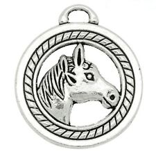 2 x Tibetan Silver 3d Horse Head Pendant Charms Round