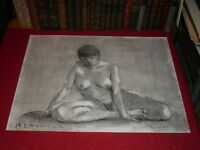 ANDRE LANDAUD 24-13 NAKED FEMALE Grd Drawing Charcoal-pastel paper white 65X50