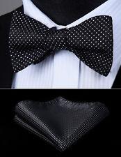 Men Woven Black White Check&Plaid Self Bow Tie Pocket Square Silk Set#BC614LS