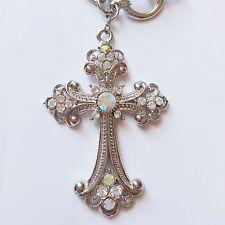 Women Fashion Jewelry Silver Chain Necklace Rhinestone Cross Pendant W Gift Box