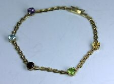 "14K Gold Aquamarine Amethyst Garnet Peridot Citrine Bracelet  7"" long"