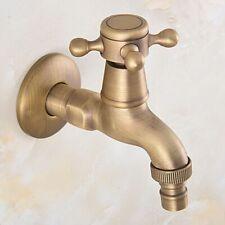 Antiqeu Brass Bathroom Wall Mount Single Cold Water Tape Washing Machine Faucet