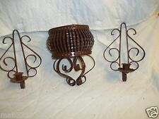 Vintage Brown Wall Sconce Candle Holders w 2 Side Candle Holders & 1 Basket