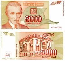 P-128 UNC /> Tesla Yugoslavia 5000 1993 AA 0000000 Dinara 5,000