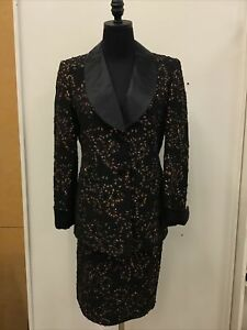NWT $2,990 Escada Margaretha Ley Sequined Black/Bronze Skirt Suit Sz 38/8