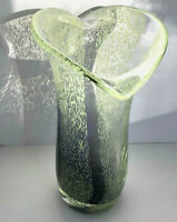 Jack In The Pulpit Vase Hand Blown Glass Deep Purple Base Pulled Green Dots VTG