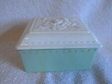 Vintage Fire King American Artware Spring Green Jewel Box-Vitrock Rose Lid-?Used