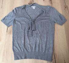 H&M Pullover, Kurzarm, Grau, Schleife, V-Ausschnitt, Gr.M *Wie Neu*