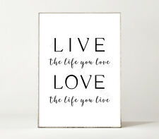 LIVE & LOVE / Typografie / Leben / Motivation / elegant / Kunstdruck / Poster