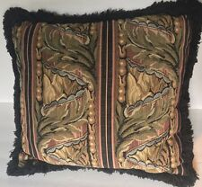 Decorative Tapestry Throw Pillow Fringed Square