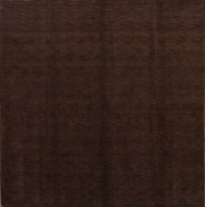 Contemporary Solid Mocha Brown Square Gabbeh Indian Oriental Modern Area Rug 8x8