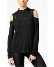 One Hart Juniors Cold Shoulder LOng Sleeve Knit Top Black XS