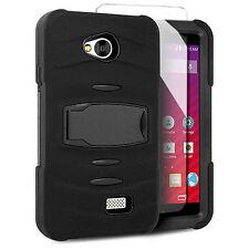 For MetroPCS LG Optimus F60 Hard Gel RUGGED Rubber Kickstand Case Phone Cover