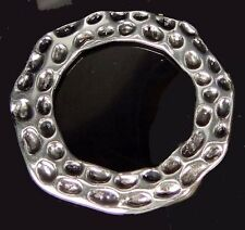 Antique Silver Pewter Hammered Oval Large Ring 45mm