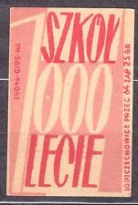 POLAND 1960 Matchbox Label - Cat.Z#136d-p 1000 Schools, for 1000 years (Polish)