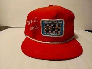 """Vintage rope Red Indianapolis 500 Oldtimers Club """"Bruce J. Owens"""" Hat"""