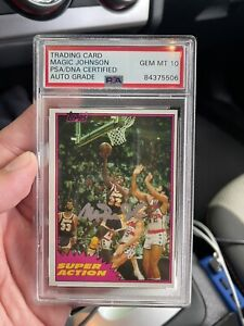 Autographed Magic Johnson Signed 1981 Topps Super Action 109 PSA GRADED 10 AUTO