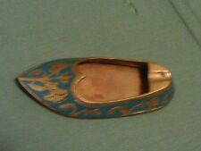 VINTAGE BRASS SHOE WITH ETCHED DESIGNS WITH HANDPAINTED EMERALD BLUE