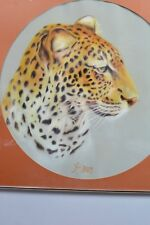 Signed Airbrush Leopard Round Painting Pro Framed Brushed Metal Ja. Schnurr
