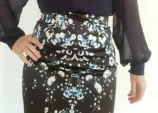 Cue Black Floral Wiggle Pencil High Waist Satin Skirt Size