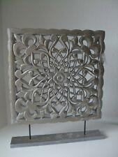 Holz Tafel Bild Ornament Schnitzerei eckig silber Window Screen Fensterbild