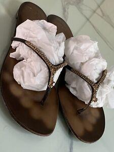 Giuseppe Zanotti Crystal Embellished Flat Thongs - 41 - Worn Once