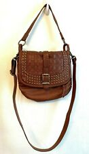 The Sak Brown Leather Woven Crossbody with Gold Studs Convertible Shoulder Bag