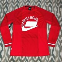 Nike Sportswear Logo Jersey NSW Men's Long Sleeve Active Shirt Red Size S Small