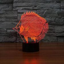 Fish 3D Lamp Night Light Multi 7Color Change Nightlight for Bedroom Modern Decor