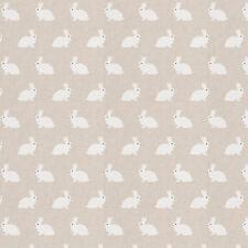 White Bunnies on Natural Linen Look Fabric **Bunny Rabbit**