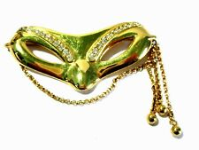 Dangle Chains Designer Styling Signed Monet Mardi Gras Mask Pin Rhinestones